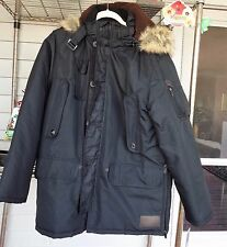 Rocawear Classic Boroughs Of Honor Puffer Coat Jacket Fur Hood Men 2XL NEW BLACK