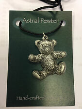 PENDANT TEDDY BEAR CUDDLY HAPPY PEWTER NECKLACE HAND CRAFTED UK FINISH NEW