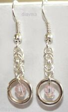 Handcrafted  - Original Petite Silver tone chainmaille Baby Pink Bead EARRINGS