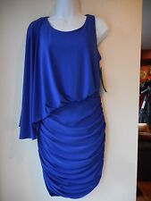 """NEW Betsy and Adam Dress size 10 Blue Gathered Bodycon Stretch 30""""Waist 36""""Long"""