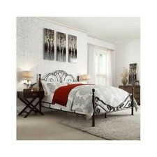 Queen Metal Wrought Iron Poster Bed Headboard Footboard Frame Scroll Antique Set