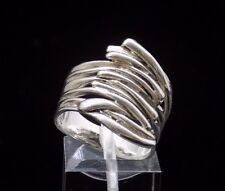 QVC Hagit Gorali 925 Sterling Silver Overlapping Wave Ring size 8