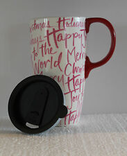 Holiday Scribble Travel Ceramic Mug 17oz Coffee Cup By Cypress Home White Pink