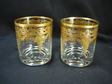 ARTE ITALICA VETRO GOLD ITALIAN GLASS PAIR OF DOF DOUBLE OLD FASHIONED GLASSES