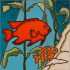 Ceramic Tile Handpainted Original Art Garibaldi Fish Sealife wall decor/trivet