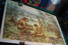 vintage German pull down Poster ALTMENSCH --FIRE, SPEARS, HAIRY, HUNTING