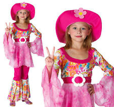 Childrens Hippy Girl Fancy Dress Costume 60'S 70'S Flower Power Outfit M