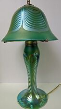 Art Glass Limited Edition Stephen Correia Green Irridized Pulled Feather  Lamp!