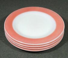4 Pyrex Milk Glass Flamingo Pink Band Salad Plates 8 1/8""