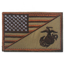AMERICAN USA FLAG MARINE CORPS USMC DESERT TACTICAL MORALE HOOK FASTENER PATCH