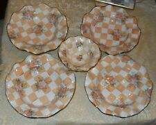 5 Mackenzie Childs Pottery Fluted BOWLS Honeymoon Orange Marmalade Check Floral