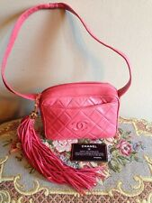 Authentic Vintage Coco Chanel Pink Tassel Shoulder Bag