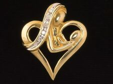 HEART WITH MOTHER & CHILD PENDANT - 10K GOLD with 0.12CTW RIBBON OF DIAMONDS!!