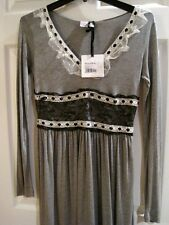 RED VALENTINO Gray Jersey Dress  With Lace-Trim V-Neck ,Size Small