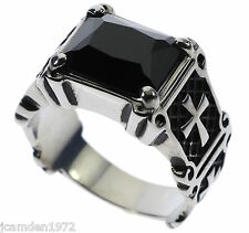6 carat Templar Cross Black Onyx Stainless Steel Men's Ring Size 9