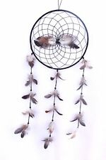 NEW LARGE BLACK DREAM CATCHER HANDMADE STRING BROWN FEATHER CAR WALL DECOR