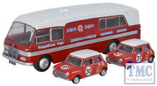 76BMC003 Oxford 1:76 Scale BMC Car Transporter & Two Minis BMC Competitions Dept