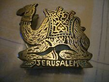 VINTAGE BRASS/ENAMAL JERUSALEM CAMEL NAPKIN/POST CARD HOLDER, MADE ISRAEL, WOW!!