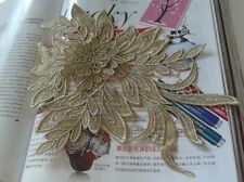 2pcs Embroidered Gold/Black/Bronze 3D Flower Applique Sew Trim Lace Accessories