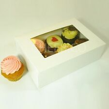 25 Counts of Window White Cupcake Box with 6 Cupcake Holder($1.60 Per Set)