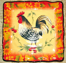 "HARVEST ROOSTER Square Plate (s) Serving Tapas THANKSGIVING 9""  Fall COLOR! NEW!"