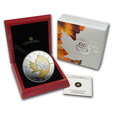 2013 Canadian 5 oz Silver 25th Anniversary of the Silver Maple Leaf Gilded Coin