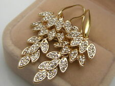 14ct 9ct Yellow Gold GF Lab diamond Leaves Drop Dangle Earrings X'mas Gift