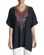 NWT Johnny Was JWLA XL Embroidered V-Neck  Poncho Tunic Black