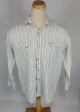 Vintage 90s Guess Saw Tooth Western Pearl Snap Stripe Shirt USA L Jeans