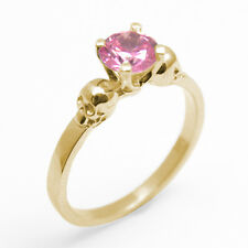 Skull Ring 9ct Gold 1ct Pink Diamond-Unique Hand Crafted Engagement Ring