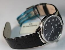 Brand New Eterna Men's Soleure Black Dial Black Leather Strap Automatic Watch