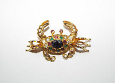 Vintage rhinestone articulated CRAB figural BROOCH pin costume jewelry MOVES