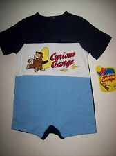 Curious George Romper Creeper Boys 1pc Sz 12 Mos Navy Blue White Monkey NWT