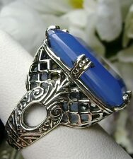 Emerald Cut Chalcedony Solid Sterling Silver Victorian Filigree Ring Size 7.5