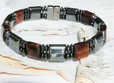TIGER EYE Stones Men's Double Magnetic Circulation Bracelet Anklet Womens 2 Row