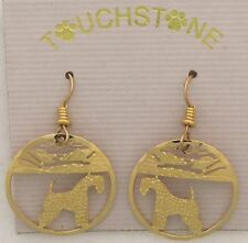 Kerry Blue Terrier Jewelry Gold Dangle Earrings