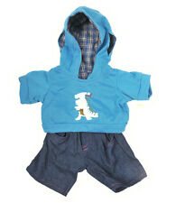 "Dinosaur Hoodie & jeans teddy bear clothes to fit 15"" (40cm) Build a Bears"