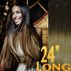 """THICK DIP DYE 24"""" BALAYAGE OMBRE CLIP IN REMY HUMAN HAIR EXTENSIONS 4/27 BROWN"""