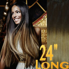 "THICK DIP DYE 24"" BALAYAGE OMBRE CLIP IN REMY HUMAN HAIR EXTENSIONS 4/27 BROWN"