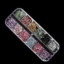 3600 NAIL RHINESTONES 2MM ROUND DIAMANTE ART GEMS DIAMOND 12 COLOURS RHINESTONE