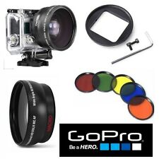 WIDE ANGLE  LENS FOR GOPRO HERO4 HERO3 HERO3+ 5PC HD FILTER KIT + LENS ADAPTOR