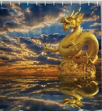 Golden Dragon Chinese Dynasty Mythology Fabric SHOWER CURTAIN Water Statue Bath