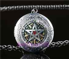 Metal Pentagram Photo Cabochon Glass Tibet Silver Locket Pendant Necklace#AJ52