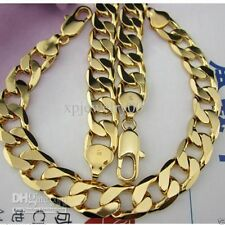 Heavy Mens 18K Yellow Gold Filled Necklace Bracelet Set Solid Curb Chain Jewelry