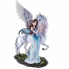White Gentle Pegasus With Beautiful Blue Fairy Statue Meadow Figurine