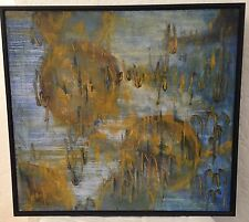 MID-CENTURY MODERN ABSTRACT ORIGINAL OIL ON CANVAS VINTAGE - NEW FRAME 23x25
