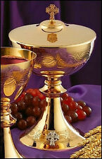 MAGNIFICENT 24K GOLD CIBORIUM - CHURCH - ALTAR - (CHALICE AND PATEN)