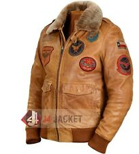 Top Gun Men Fighter Pilot Winter Cognac Fur Lambskin Flight/Bomber Leather Ja