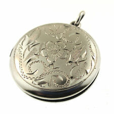 WE Hayward Locket Pendant Engraved Round Floral Sterling Silver 2 Photos WEH W E