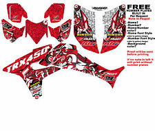 TRX450R LOGO BOMBER GRAPHIC KIT RED SIDES/FENDERS 06-07 HONDA TRX 450 TRX450